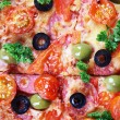 Tasty pizza with sausage and vegetables, macro view — Stock Photo #61303771