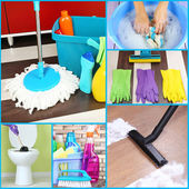 Cleaning supplies and tools collage — Stock Photo