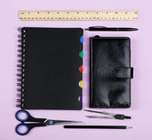 Different stationery on COLOR background — Stock Photo