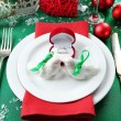 Stylish red, green and white Christmas table setting . Winter wedding concept — Stock Photo #61315147