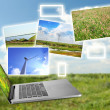 Laptop and images of nature on field and sky background — Zdjęcie stockowe #61327189