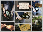 Homeless men ask for help collage — Stock Photo