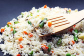 Tasty rice preparing in wok, close-up — Foto Stock