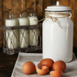 Milk can with eggs, eggshell and glass bottles on rustic wooden background — Stock Photo #61374695