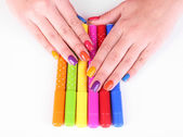 Multicolor female manicure with markers isolated on white — Foto de Stock