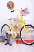 Yellow retro bicycle — Stock Photo