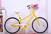 Yellow retro bicycle — Stock Photo