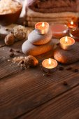 Composition of spa treatment on wooden background — Stock Photo