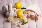 Spa still life on wooden planks background — Stock Photo