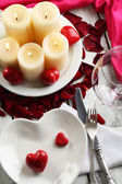 Table setting of Valentines Day — Stock Photo