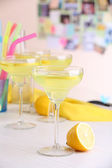 Glasses of fruit cocktails in party close-up — Stock Photo
