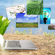 Laptop and eco theme images on nature background — Zdjęcie stockowe #61522429