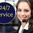Call center operator and 24/7 service text in cloud — Stock Photo #61522495