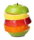 Fresh sliced fruit isolated on white — Stock Photo