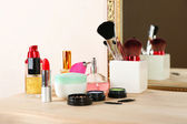 Different cosmetics on dressing table, close up — Stock Photo