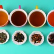 Assortment of tea on color background — Stock Photo #61632685