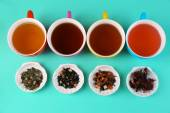 Assortment of tea on color background — Stock Photo