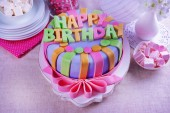 Delicious birthday cake on table close-up — Stock Photo