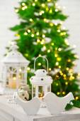 Christmas decorations with lantern on fir tree background — Foto Stock