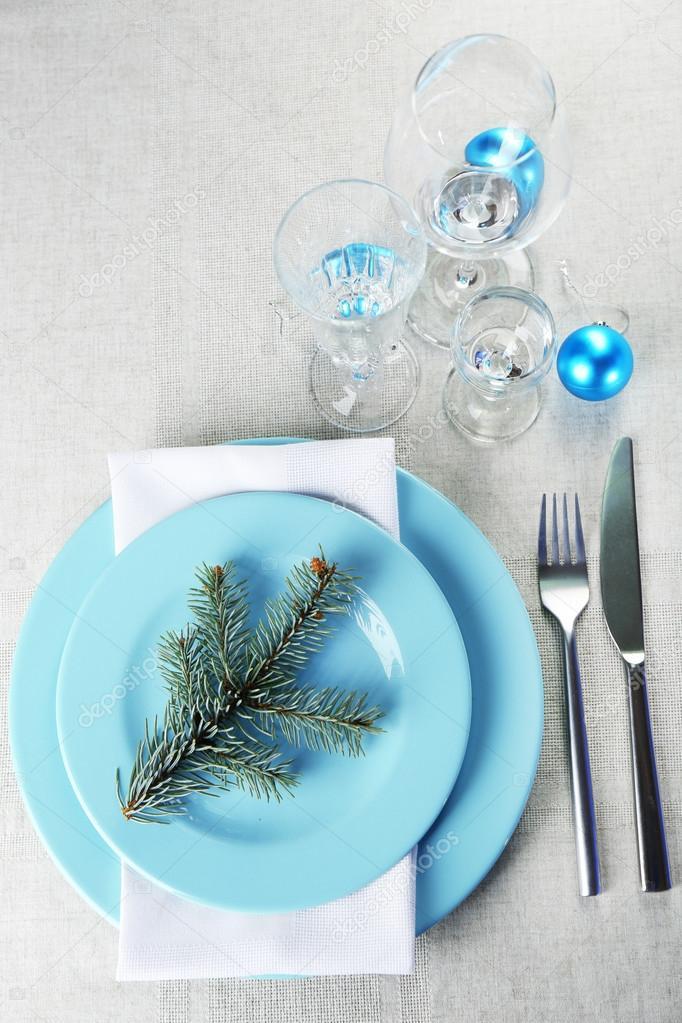 Stylish Blue And White Christmas Table Setting On Grey