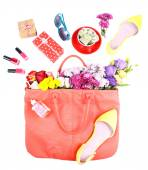 Women bag stuff top view isolated on white — Stock Photo