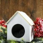Handmade birdhouse in winter — Stock Photo #61760427