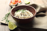 Tasty rice served on table, close-up — Stock Photo