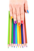 Multicolor female manicure with colored pencils isolated on white — Foto de Stock