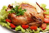 Baked chicken for festive dinner — Stock Photo