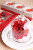 Festive table setting for Valentines Day on table background — Stock Photo