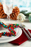 Table setting with Christmas decoration — Stock fotografie