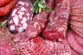 Sliced smoked sausages, macro view — Stock Photo