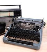 Antique Typewriter. Vintage Typewriter Machine on table — Stock Photo
