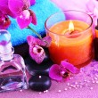 Beautiful spa setting with orchid close-up — Stock Photo #62018161
