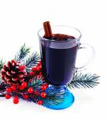 Glass of festive red mulled wine isolated on white — Stock Photo