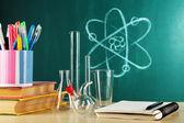 Desk in chemistry class — Stock Photo