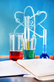Glassware with chemical agent — Stock Photo