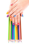 Female manicure with pencils — Stock Photo