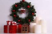 Christmas decoration with wreath — Stock Photo
