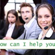 Call center operators and How can I help you? text — Stock Photo #62123007