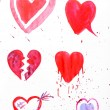 Painted hearts on sheet of paper isolated on white — Stock Photo #62123179