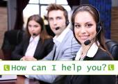 Call center operators and How can I help you? text — Foto Stock
