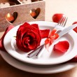 Festive table setting for Valentines Day on table background — Stockfoto #62164639