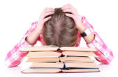 Girl fell asleep for books isolated on white — Stock Photo