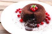 Hot chocolate pudding with fondant centre on plate, close-up — Stock Photo