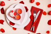 Festive table setting for Valentines Day on light background — Stock Photo