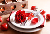 Festive table setting for Valentines Day on table background — Zdjęcie stockowe
