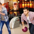 Friends playing in bowling club — Stock Photo #62216473