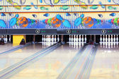 Bowling alley with pins — Stock Photo