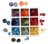 Various of sewing buttons in box isolated on white — Stock Photo